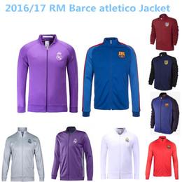 Wholesale TOP THAI QUALITY RM white blue black Real Madrid barclona atletico soccer jacket LONG sleeve Tracksuit football shirt
