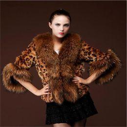 Wholesale Leopard Fur Button Jacket - 2017 new Leopard short paragraph womens winter jackets with big raccoon fur hooded faux fur coats