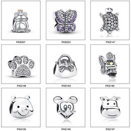 Wholesale 925 Sterling Silver Charm European Charms White Animal Zircon Bead Fit Pandora Snake Chain Bracelets Fashion DIY Jewelry