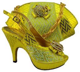 Sale! SUPER Fashion Peep Toe fashion design african ladies high heel shoes Matching handbag IN YELLOW MM1003