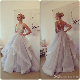 2016 new arrival stunning ball gown prom dresses hayley paige bateau neck beading ruffles organza tiered backless long party dresses
