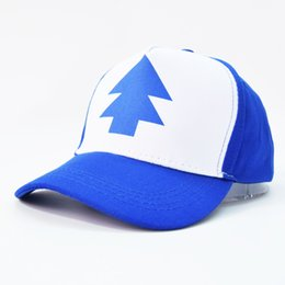 Wholesale Retail New Curved Bill Blue Pine Tree Kids Caps Hats Dipper Gravity Falls Cartoon Style Baseball Cap For Children Sun Hat