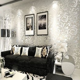 Wholesale High grade Modern PVC Thicking Flocking Embossed Wallpaper Roll Colors choose silver gray beige gold yellow m m m2