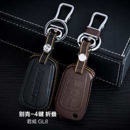 100% Genuine Leather Car Key Case Cover 4 Buttons Folding For 2015 Buick Lacrosse GL8 Car Key Holder Bag Keychain Car Key Accessories