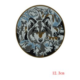 wholesale ferocious wolf embroidery iron on patches for Jacket Jeans Clothing Badge fabric applique decoration custom patch
