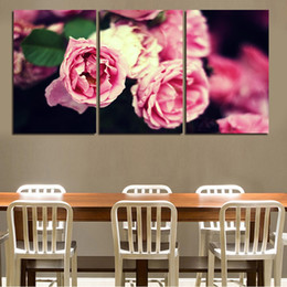 2016 modern pink beautiful flower 3 pieces paintings for dining room decoration unframed gift for girlfriend free shipping