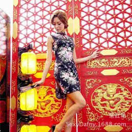 Wholesale CHY New Ladies Sexy cheongsam black cherry slim dress manufacturers selling Auto Club