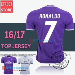 Wholesale 2017 Thailand Quality Real madrid soccer Jerseys New Font RONALDO home white away Purple JAMES BALE RAMOS ISCO MODRIC football shirt