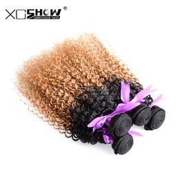 Promotion 24 profonds faisceaux de cheveux bouclés 7a Discount Cheap Two Tone Afro Kinky Curls Remy Hair Bundles 4pcs péruviens Curly Virgin Hair Extensions Ombre indiennes profondes Curly Tissages Cheveux
