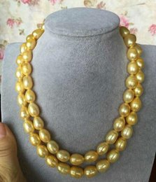Elegant 13-14MM SOUTH SEA BAROQUE GOLD PEARL NECKLACE 38 INCH 14K GOLD CLASP