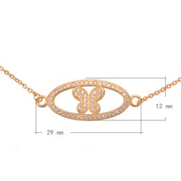 Cubic Zircon Micro Pave Brass Necklace With 1.5 lnch Extender Chain Butterfly Plated Oval Chain More Colors For Choice 29x12mm Length:21Inch