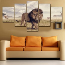 2016 New 5 Panels Modern HD Lion Wall Picture Decorative Art Print Painting On Canvas For Living Room Home Decoration Unframed Free Shipping