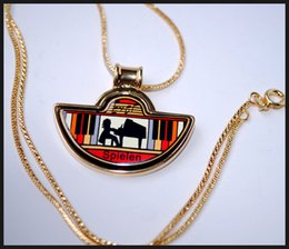 Playing Music Series 18K gold-plated enamel necklaces for woman Fan Pendant Necklace colar women necklace