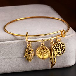 Wholesale Alex And Ani Gold Plated Tin Alloy Charm Bracelets Best Seller Boho Jewelry Hand Of Fatima Adjustable Bangle Bracelet