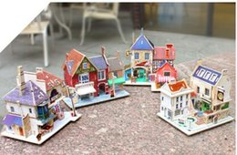 DIY 3D Wooden Puzzle For Children To Develop Their Manipulative Ability With Kit:Houses Of Different Styles