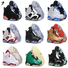 Promotion chaussures de sport pas cher 2016 Cheap Air 6 Retro VI Chaussures de basket-Blanc infrarouges chaussures de sport 23 sport chaussures hommes rétro 6 carmin chaussures de plein air freeshipping