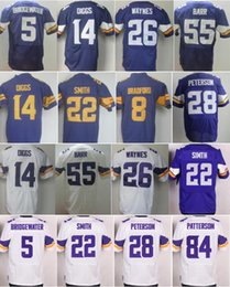 Wholesale 8 Sam Bradford Jersey Teddy Bridgewater Stefon Diggs Trae Waynes Adrian Peterson Cordarrelle Patterson Color Rush Purple White