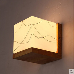 Northern Europe Style Wood LED Wall Light Lamps AC85-265V 3W modern led wall lamp glass shade