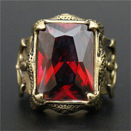 3pcs lot New Design Golden Color Huge Ruby Ring 316L Stainless Steel Fashion jewelry Flower Band Party Biker Cool Big Ruby Ring