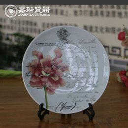 Wholesale Traditional Chinese hand painted Ceramic Round Hanging Wall Plate Floral Birds Pattern Porcelain plate Home decorative ornaments