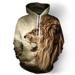 Youthcare Hoodie for Men and Women 3D printed Open Mouth Lion Hoodie Oversize Pullover Long sleeve tops Sweater