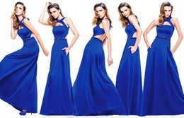 Wholesale New Designer Prom Dresses A Line Halter Backless Chiffon Royal Blue Evening Party Dress Celebrity Gowns prom Party Dress Celebrity