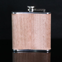 Wholesale oz wooden wrapped electroplating stainless steel hip flask personalized gift your name show on whisky alcohol drinkware flasks