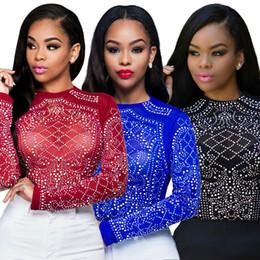 Camisas novas do partido à venda-Camisa de manga comprida 2016 Verão Mulheres Novas Top Mesh sexy azul vermelho preto O Neck elástico diamante Club Party Blusa camisa de malha S-XL