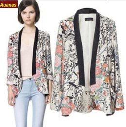 2016 Fashion Jackets Spring Summer Floral Print Zipper Long Sleeve S~L Jacket Women Sun Protection Clothing Short Outerwear