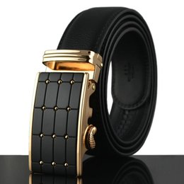 Wholesale high quality formal split genuine leather belt auto buckle mm wide black fashion designer leather man belt
