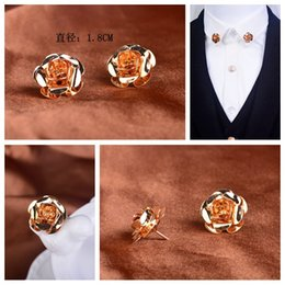 The new men and women universal Korean gold rose collar Needle suit collar flower brooch fashion corsage shirt collar accessories