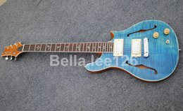 Music instrument guitar store,Sky blue flame maple top,Chrome wax potted pickups ,semi-hollow body electric guitars
