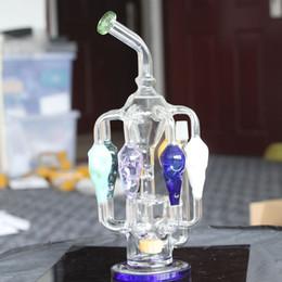Promotion crdp de verre Les plus récents Bongs en Verre Bleu 7 Nid d'abeilles Pneus Perc Perc Design créatif Recycler plates-formes pétrolières Bongs Boulonnerie Cuvette Bateaux Bongs Tuyaux d'eau Hookahs