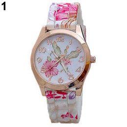 Wholesale Quality Fashion Women Silicon Band Flower Print Jelly Sports Quartz Wrist Watch EQR watch device