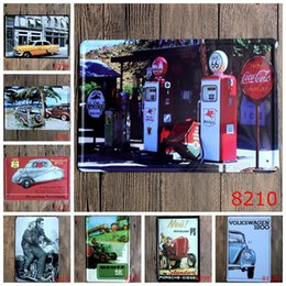 Wholesale quot Automobile tractor gas station quot retro iron metal wall painting Tin signs Vintage poster Art House Cafe Bar wall stickers home decor x30CM