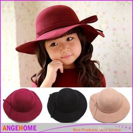 Fashion Bowknot Princess Hats Brimmed Sun Hat Wool Cap Bucket Hat Baby Sunbonnet Kids Top Hat Girls Topee Fedora Hat Children Caps Hat
