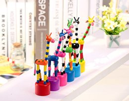 Wholesale pc Baby Wooden Rock Giraffe Toy Standing Dancing Hand Doll cm Tall Animal Toy Kid s Education Fun Set