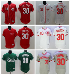 Wholesale Best Quality Ken Griffey Jr Jersey Baseball Cincinnati Reds Throwback Jerseys Flexbase Cool Base Pullover White Grey Red Vintage