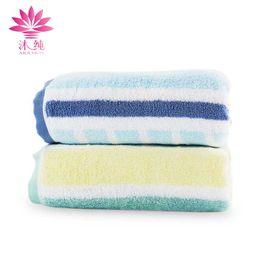 muchun Brand Lattice Stripes Towel 100% Natural Cotton Fabric Drying Bath Washcloth Bath Robe Beach Shower Towel Super Absorbent Bodywrap
