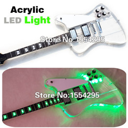 Wholesale Top Factory Custom Acrylic Firebird Electric guitar Fingerboard Transparent Body with LED Real photo showing