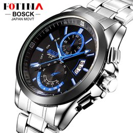 FOTINA Top Brand BOSCK Casual Business Watch Men Stainless Steel Water Resistant Quartz Clock Auto Day Date Watches Montre Homme