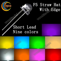 Wholesale F5 Straw Hat LED Diodes Utra Bright mm short Lead Red Green Blue Yellow Orange Pink Purple White Warm white