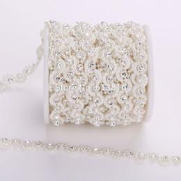 Free shipping 10Yards costume applique 10mm wave shape pearl rhinestones trim chain Wedding dress Wedding Decoration
