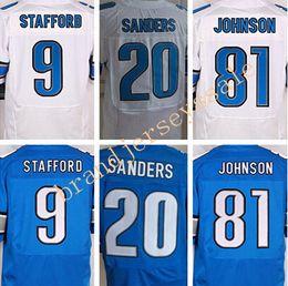 Wholesale Best quality jerseys Cheap Men s Matthew Stafford Barry Sanders Johnson elite jerseys White and Blue Size M XXXL