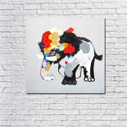 Wholesale Elephant Oil Painting Modern Abstract Acrylic Paintings Living Room Decor Picture Hand painted Oil Painting on Canvas