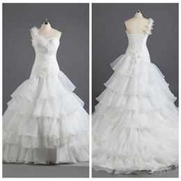 Wholesale Real Pictures One Shoulder Organza Tiered Wedding Dresses Chapel Adjustable Lace Up Back Bridal Gowns Custom Online