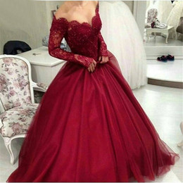 Sexy Off the Shoulder Burgundy Long Sleeves Evening Dresses 2016 Arabic Evening Gowns V-Neck Ball Gown Prom Dresses