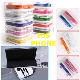 Wholesale I phone earphones with microphone in acrylic case strong bass use for G S pad in multi colors