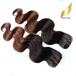 El pelo humano de la Virgen del pelo de Ombre 1b / # 4 Malasia empaqueta las tramas del pelo Teje 2or3or4 paquetes / extensiones de la porción Bellahair DHL Tinte del tinte de la inmersión dos desde teñidos haces de pelo de malasia proveedores