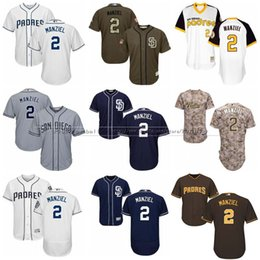 Johnny manziel jerseys à vendre-Maillots de Baseball Hommes San Diego Padres # 2 Johnny Manziel Flexbase Cool Base Marine Maillots Brown Blanc Majestic Jersey Stitched S-4XL